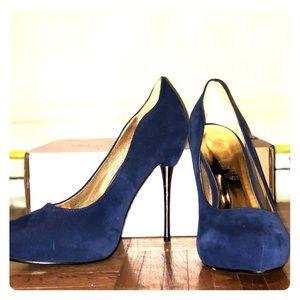 Suede navy blue heels